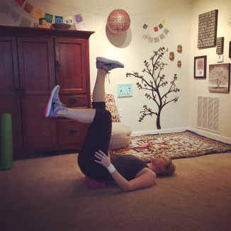 A yoga sequence with the block after an hour at the gym